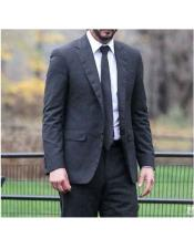 John Wick Single Breasted 2 Button Black Notch Lapel Suit