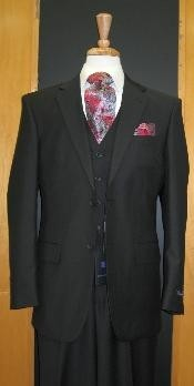 Button Black Flat Front three piece suit