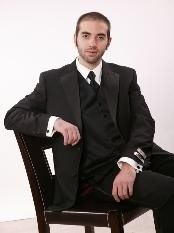 Two Button Notch Lapel Microfiber Tuxedo