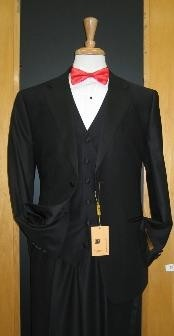 Button Three Piece Flat Front Tuxedo