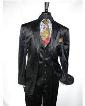 Black  2 Button Velvet Fabric 3 Piece Vested Notch lapel Side Vent Suit with Pleated