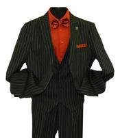 Peak Lapel Striped Two Button Single Breasted Vested Suit Black
