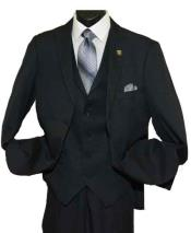 2 Button Side Vent Peak Lapel Single Breasted V-Neck Vested Suit