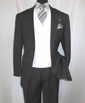 Mens Black 2 Button Chalk Bold Stripe ~ Pinstripe Double Breasted Shawl