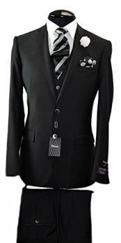 Italian Black  Slim Fit Suit & Vest