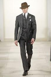 2 Button Black and Bold Chalk Gangster White Stripe Vested Big Notch Lapel 1920 1930 Suit Flat