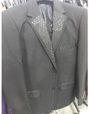 Mens 2 Button Black Tuxedo Vested Suit Patten