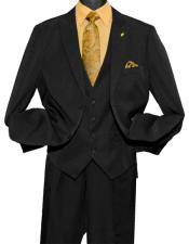 Men's Fashion 2 Button Black Single Breasted Vested Peak Lapel Suit