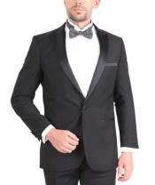 Fit Wedding Tuxedo Two Button Black Skinny Tapered Fit