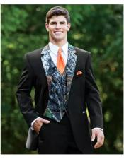 Black Slim Fit 2 Button Full Sleeve Camo Print Wedding Tuxedo Suit