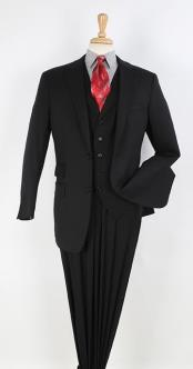 Black 2 button Ticket Pocket Lapeled Vested Notch Lapel 100% Wool