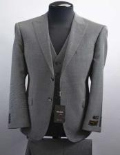Luxe Barbera Mens Wool 2 Button Black/White Peak Lapel Modern Fit Vested Suit