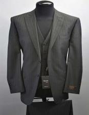 Tiglio Luxe Tufo Mens Pinstripe 2 Button Peak Lapel Vested Fine Italian Wool Black Suit