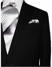 Mens 2 Button Modern Fit Solid Black 100% Wool Dual Side Vents Suit
