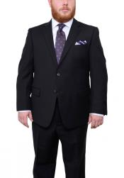 Mix and Match Suits Mens Two Button Portly Fit Black Tonal Herringbone