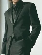 Super 120s 2-Button  Package Deal High Quality Wool Tuxedo + Black