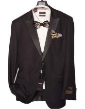 Tone on Tone Shadow Black On Black Stripe ~ Pinstripe Peak Lapel Tuxedo