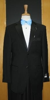Button Vented Tapered Cut 100% Wool Flat Front Tuxedo