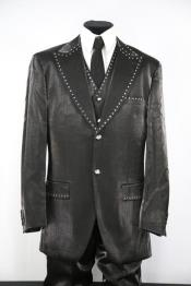 Mens Rhinestone  Peak Lapel Black Zoot Suit