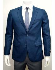 Mens Blue Linen Two Button Notch Lapel Single Breasted Side Vent Jacket Sportcoat Blazer