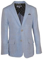 Boys 2 Button Notch Lapel Blue Linen Blazer