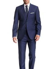 Mens Blue checkered check pattern 2 Button Modern Fit Wool Suit