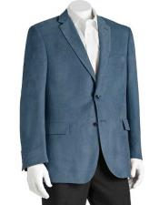 Mens Notch Lapel Polyester Double Vent 2 Button Classic Fit Blue