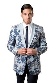 Mens Tazio 2 Button Shawl Collar Slim Fit Blue Blazer