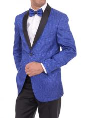 Satin Shawl Lapel Blue 2 Button Floral Slim Fit Blazer Sportcoat
