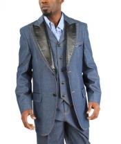 Two Button Cotton Timmed Denim Suit Three Button Traditional Fit BlackBlue