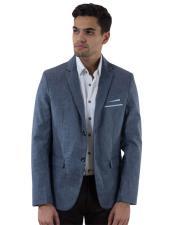 Mens Long Sleeve Blue Notch Lapel Slim Fit 2 Button Single Breasted Linen Fabric Blazer
