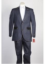 Mens Denim Jean Blue 2 Button Fashion Suit