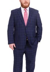 Plaid Pattern Portly Fit Blue Two Button 100% Wool Fully Lined Suit