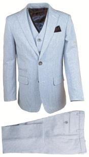 Boys 2 Button Blue 3 Pc Linen Vested Suit And Pant