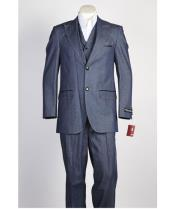 Mens 2 button Vested Peak Lapel Denim Fashion Suit in Blue