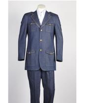 diamond nail heads Two Piece 2 Button Safari Military Style Suit