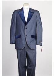 Single Breasted Mens Velvet 2 Button Denim Tuxedo Jean Blue Suit