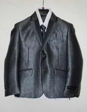 Two Toned Notch Lapel 2 Button Suit Vested With ShirtTie &