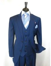 Mens Shadow Stripe Style Two Buttons Blue Vested Suit $180 44R