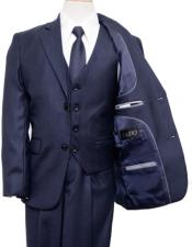 Cut Boy Suit 2 Button Style Vested Suit Blue