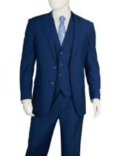 Discounted Mens 2 Buttons 3 Pieces Vested blue Suit Pleated Pants