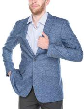 Mens 2 Button Blue Patterned Peak Lapel Slim Fit Wool Blend Italian Styled Blazer