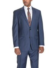 2 Button Wool Single Breasted Notch Lapel Blue Suit