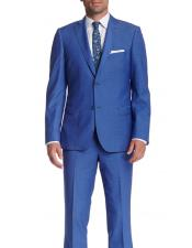 Mens 2 Button Wool Slim Fit With Pick Stitching Suit Blue