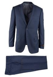 Novello Birdseye Pattern 2 Button Wool Modern Fit Blue Luxe Fine