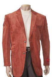 Mens 2 Button Single Breasted Brick Sueded Notch Lapel Blazer