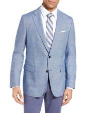 Mens Sportcoat Two Buttons Single Breasted Wool & Linen Bright Blue Slim Fit Blazer