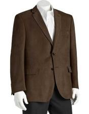 Microsuede Mens Classic Fit 2 Button Polyester Brown Double Vent Blazer
