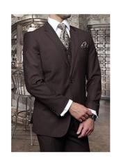 Confidence Mens Brown 3 Piece 2 Button Italian Designer Suit