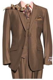 Mens Rust ~ Copper ~ Light Brown 2 Button 3 Piece Suit